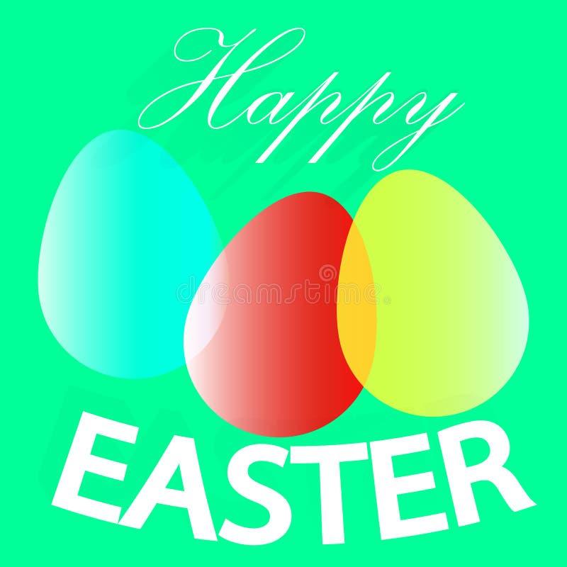 Glansowani jajka dla Szczęśliwej wielkanocy, świętowanie karciany projekt ilustracji