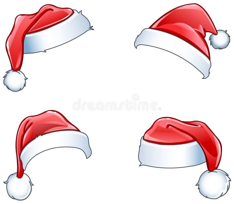 Glansowani Santa kapelusze royalty ilustracja