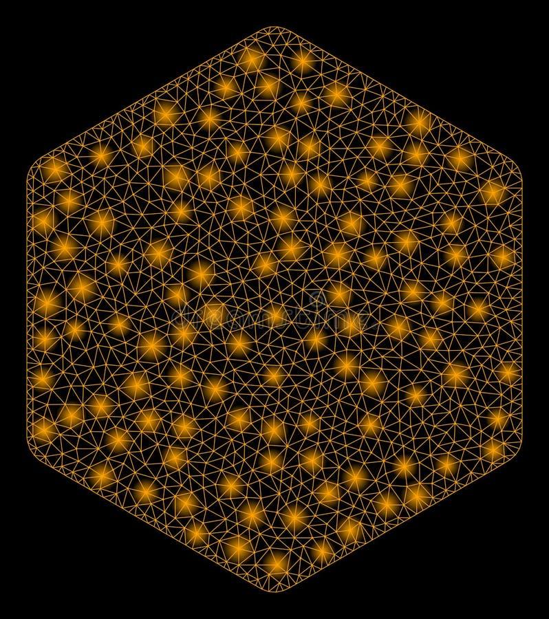 Glansowany ścierwo Wypełniający siatka sześciokąt z Błyskowymi punktami ilustracji
