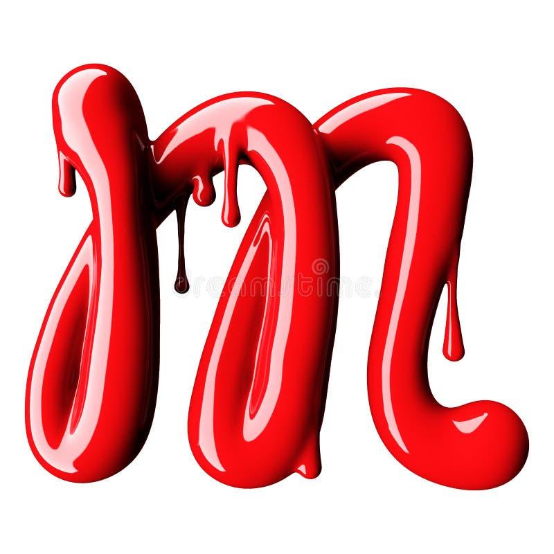 Glansowany czerwień listu M uppercase świadczenia 3 d ilustracja wektor