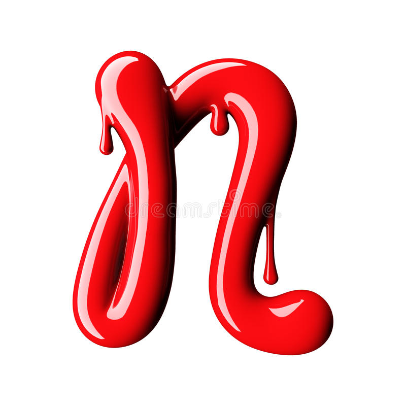 Glansowany czerwony listowego N uppercase świadczenia 3 d royalty ilustracja