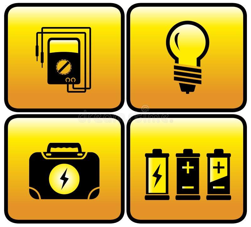 Glansowany elektryczny guzika set ilustracja wektor
