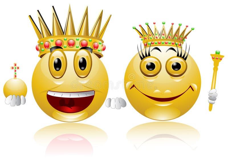 glansowany ikony królewiątka królowej uśmiech royalty ilustracja