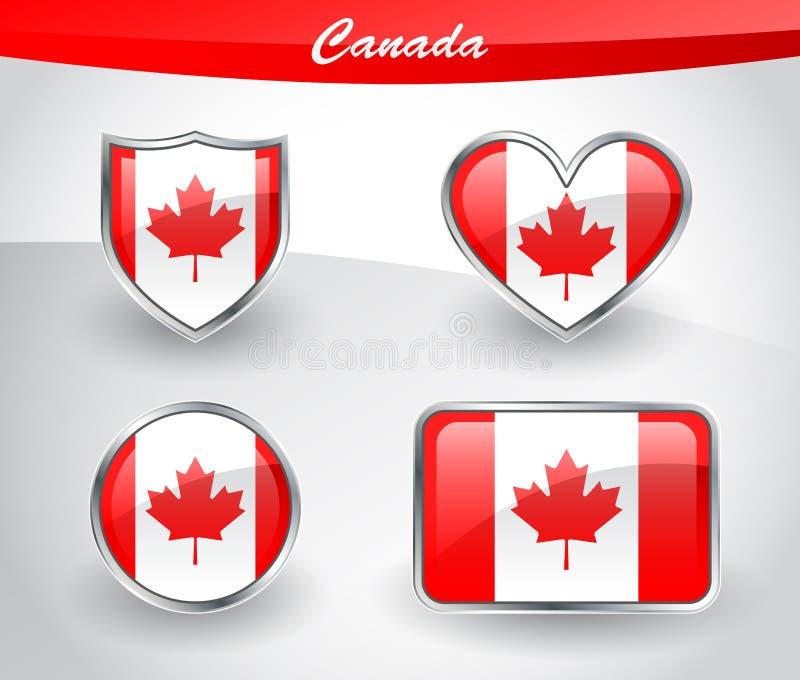 Glansowany Kanada flaga ikony set ilustracja wektor