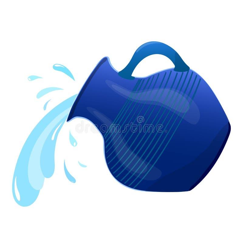 Glansowany miotacz, nalewa wodę od miotacza ki?? woda ilustracja fotografia royalty free