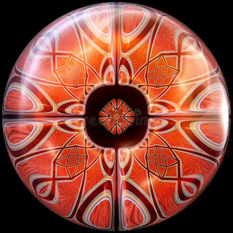 Glansowany okrzesany guzik z zanurzonym fractal royalty ilustracja