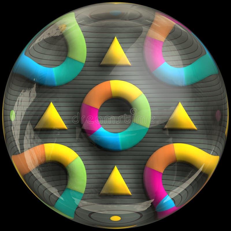Glansowany okrzesany guzik z zanurzonym fractal ilustracja wektor