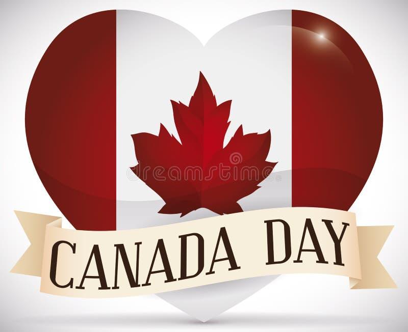 Glansowany serce z kanadyjczyka Chorągwianym i Tasiemkowym Świętuje Kanada dniem, Wektorowa ilustracja royalty ilustracja