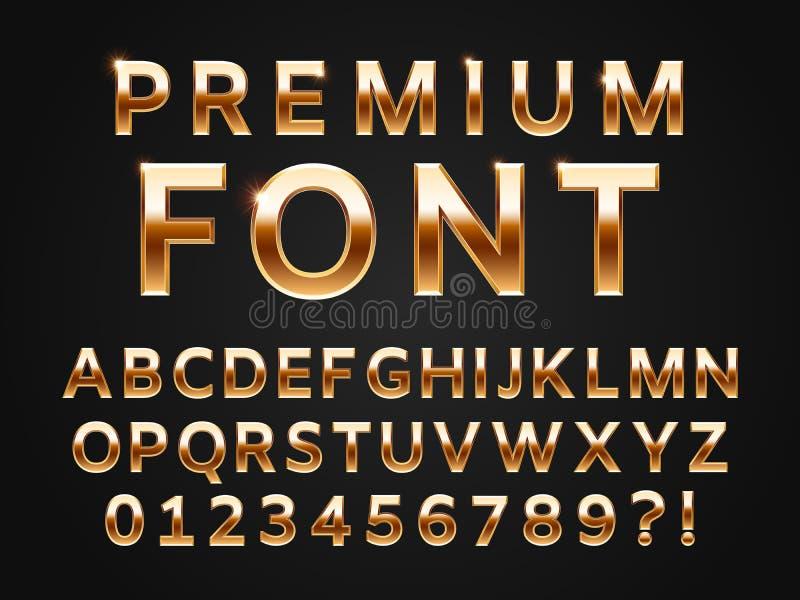 Glansowany złocisty typeface, połysku abecadło pisze list kolekcję dla premia teksta projekta Złoty glosa metalu wektor sans chrz ilustracja wektor