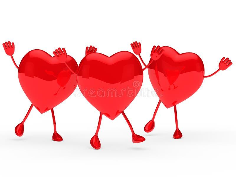 glansowanych serc czerwona valentine fala ilustracja wektor
