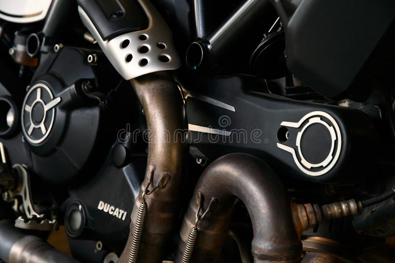 Glanst de zwarte triomf van close-upducati van van de motordelen royalty-vrije stock fotografie