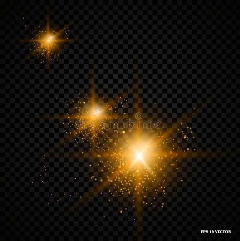 Glanst het gloed realestic lichteffect met stralen en deeltjes, helder lichteffect voor een transparante achtergrond vector illustratie