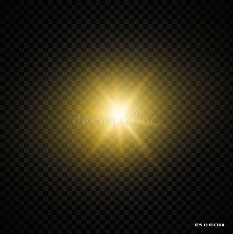 Glanst het gloed realestic lichteffect met stralen en deeltjes, helder lichteffect voor een transparante achtergrond royalty-vrije illustratie
