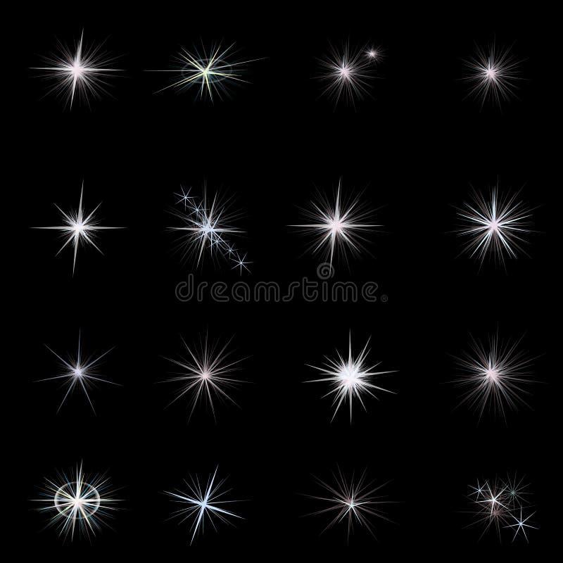 Glanz spielt mit Funkeln die Hauptrolle und funkelt Sterne eingestellt stockbild