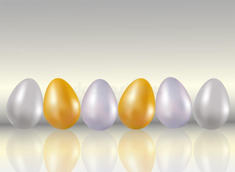 Glanzen zes geverft in metaalgoud, silve, platina kleurt kippeneieren op lichtgrijze achtergrond met reflaction Gezond voedsel D vector illustratie
