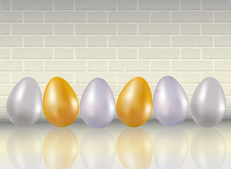 Glanzen zes geverft in metaalgoud, silve, platina kleurt kippeneieren op witte bakstenen muurachtergrond met reflaction Gezond F stock illustratie