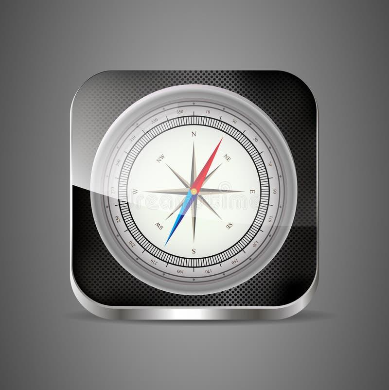 Glanzend app van het Kompas pictogram met windrose. vector illustratie