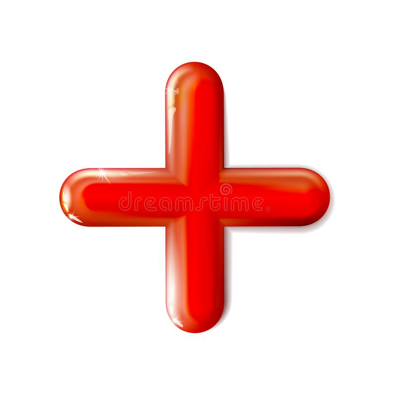 Glanzend 3D geïsoleerd wiskundig plustekenpictogram Symboolrood Ui, advertentie Ontwerp realistisch plastic stuk speelgoed Saldoc stock illustratie