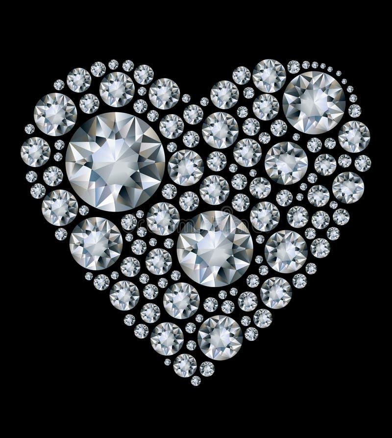 Glanzend diamanthart op zwarte achtergrond stock illustratie