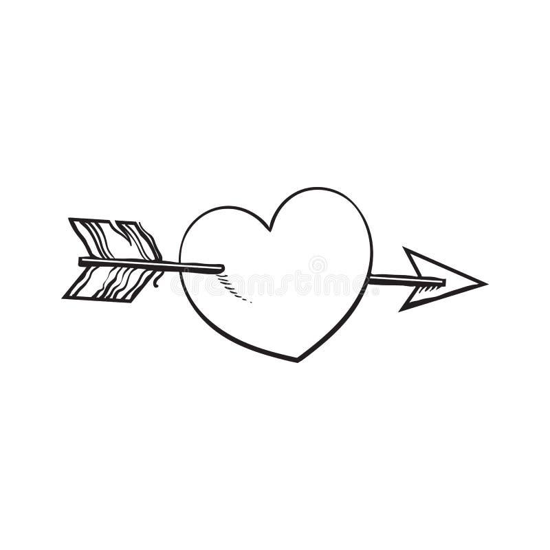 Glanzend die beeldverhaalhart door Cupidopijl wordt samengevoegd, liefdesymbool vector illustratie
