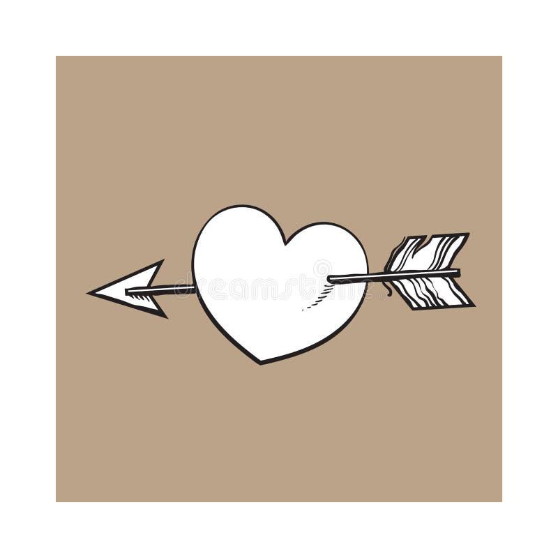 Glanzend die beeldverhaalhart door Cupidopijl wordt samengevoegd, liefdesymbool royalty-vrije illustratie
