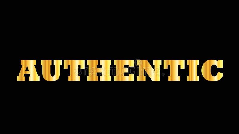 Glanzend gouden authentiek hoofdletterwoord royalty-vrije illustratie