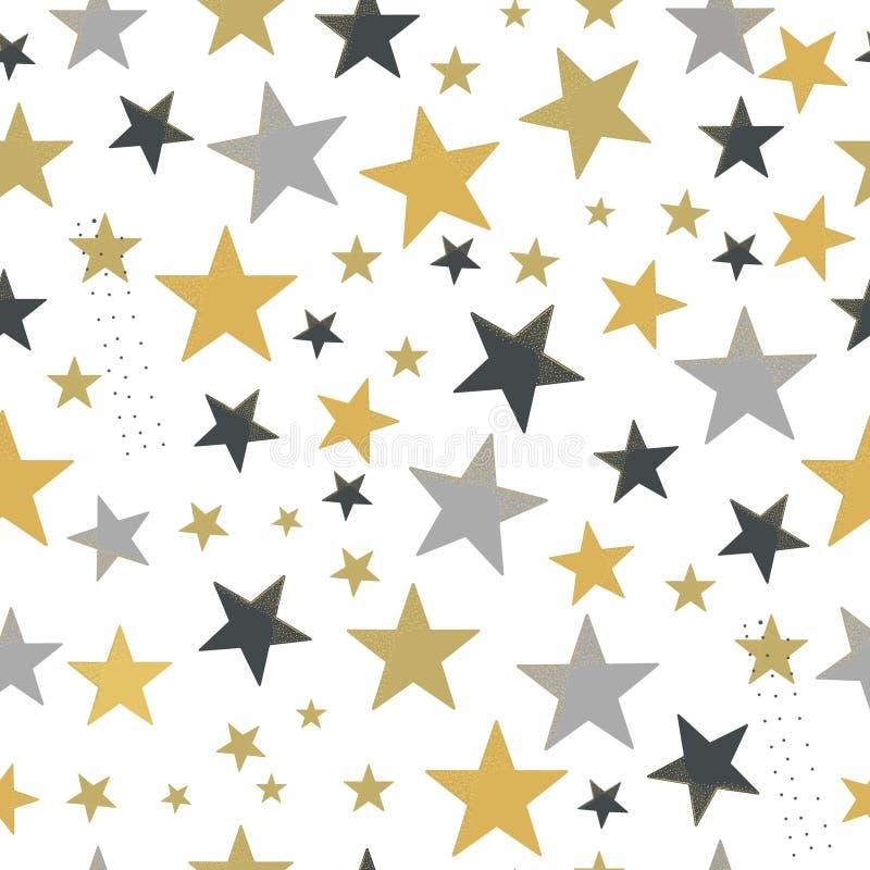Glanzend gouden en zilveren gekleurd sterrenpatroon vector illustratie