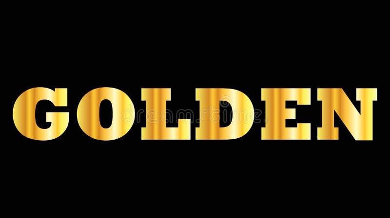 Glanzend gouden gouden hoofdletterwoord vector illustratie