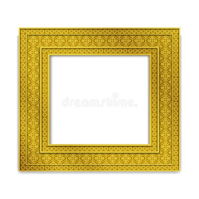 Glanzend gouden Indisch Fotokader, vector royalty-vrije illustratie