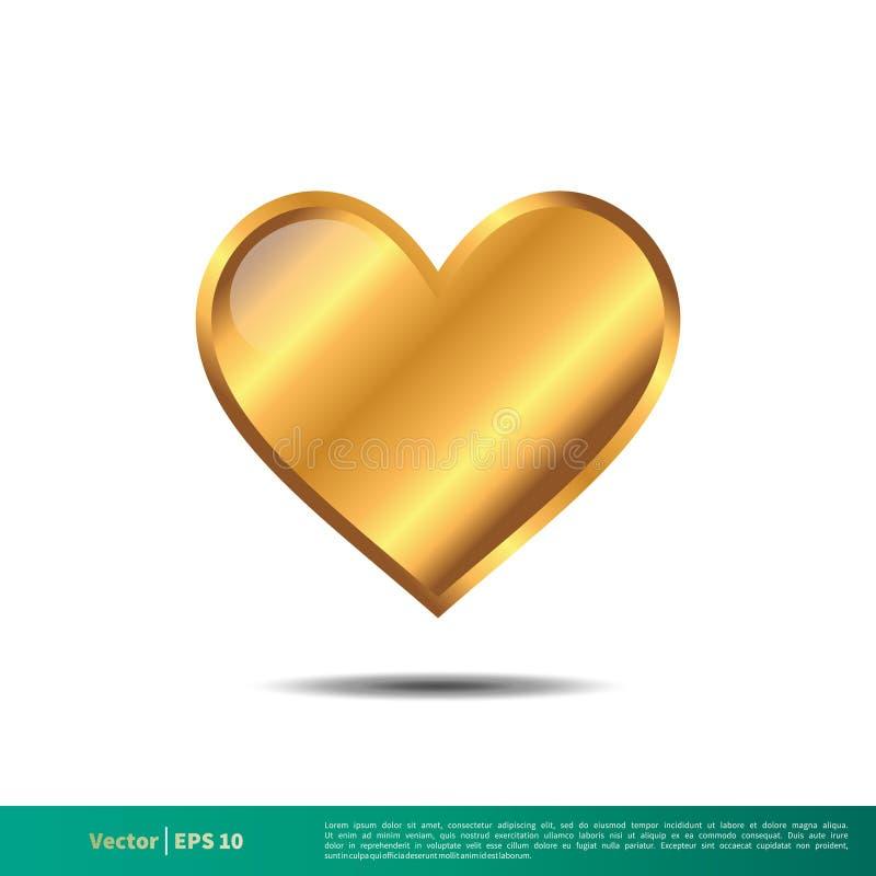 Glanzend Gouden van het het Pictogrammalplaatje van Editable van het Liefdehart Vector de Illustratieontwerp Vectoreps 10 royalty-vrije illustratie