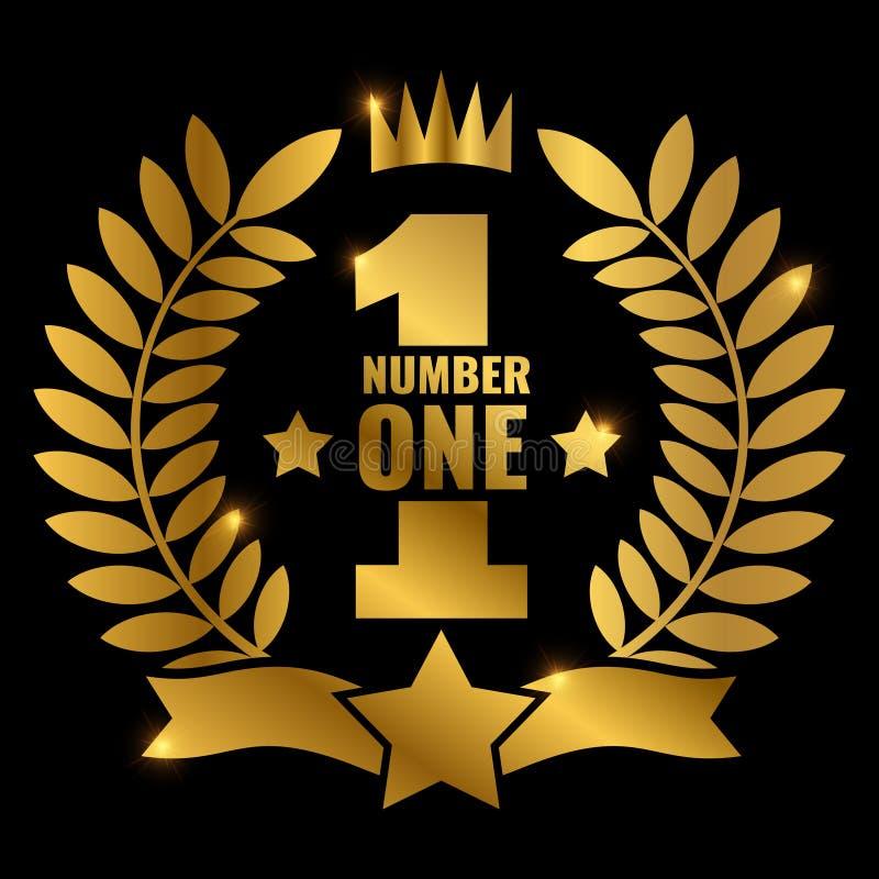 Glanzend gouden vectornummer één retro etiketontwerp vector illustratie