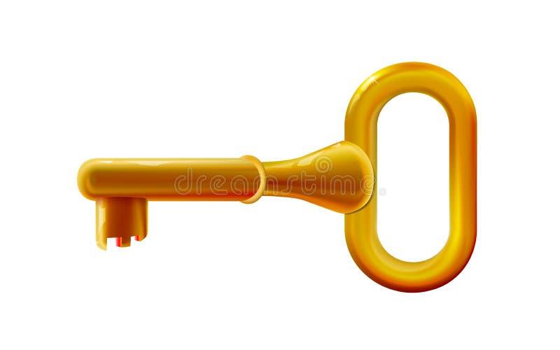 Glanzend gouden zeer belangrijk plastic stuk speelgoed Rond gemaakte kleurrijk, pretontwerp, babyelement Beeldverhaal vectorillus stock illustratie