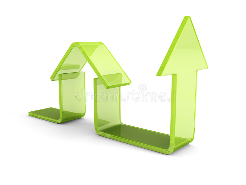 Glanzend Groen Huispictogram met het Toenemen Pijl Concept 6 van onroerende goederen royalty-vrije illustratie