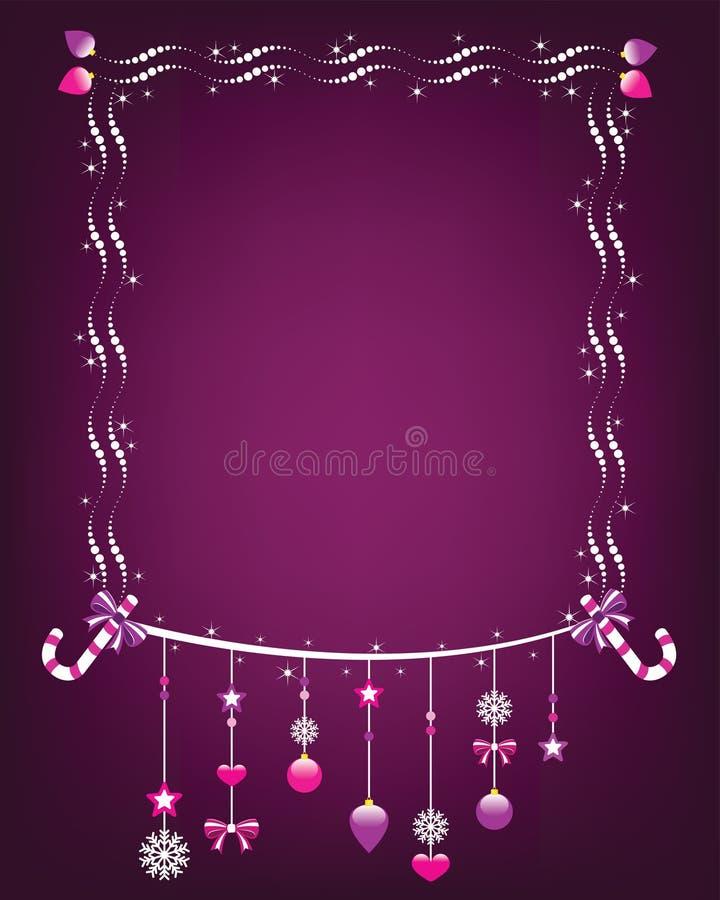 Glanzend Kerstmiskader met het hangen van ornamenten. stock illustratie