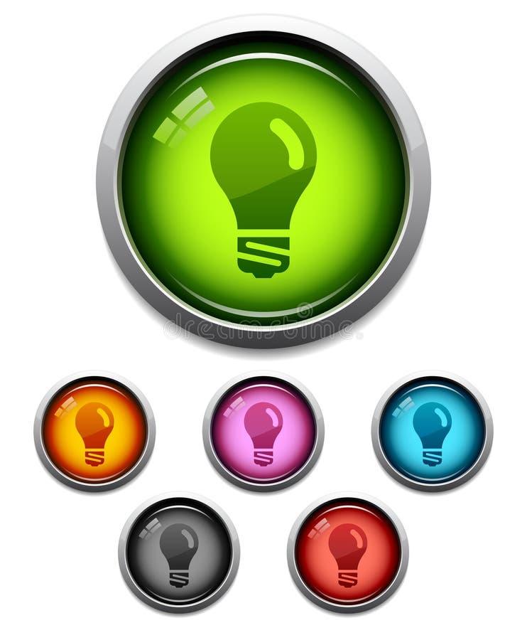 Glanzend lightbulbpictogram stock illustratie