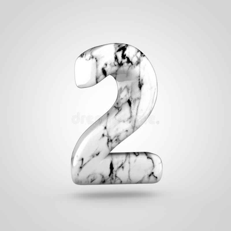Glanzend marmeren die nummer 2 op witte achtergrond wordt geïsoleerd vector illustratie