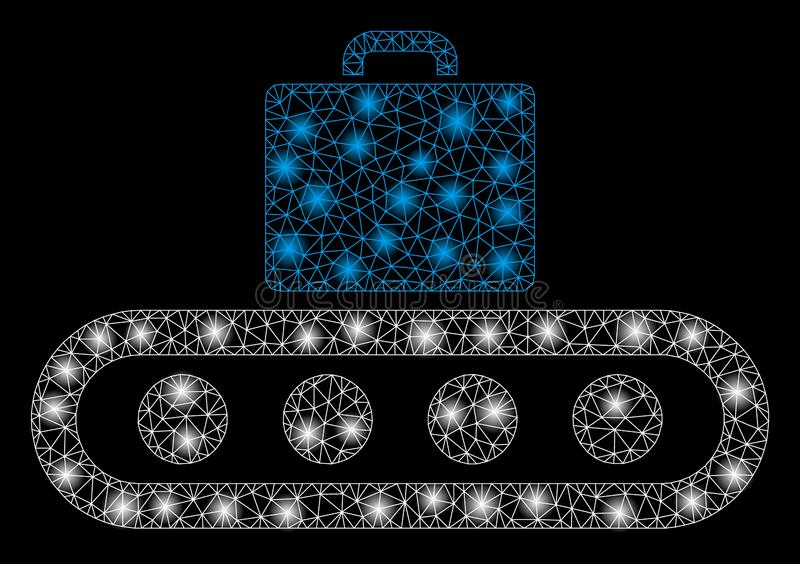 Glanzend Mesh Wire Frame Luggage Conveyor met Lichte Vlekken vector illustratie