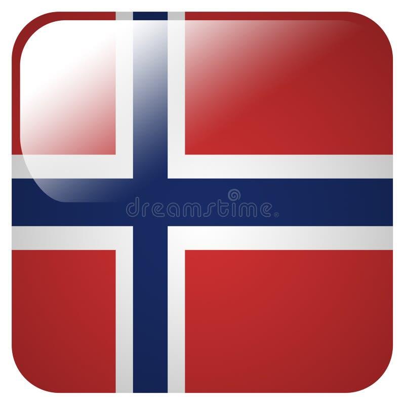 Glanzend pictogram met vlag van Noorwegen royalty-vrije illustratie
