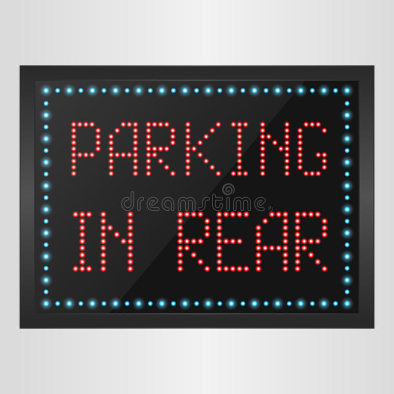 Glanzend retro licht bannerparkeren in achtergedeelte op een zwarte achtergrond vector illustratie