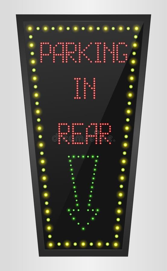 Glanzend retro licht bannerparkeren in achtergedeelte op een zwarte achtergrond stock illustratie