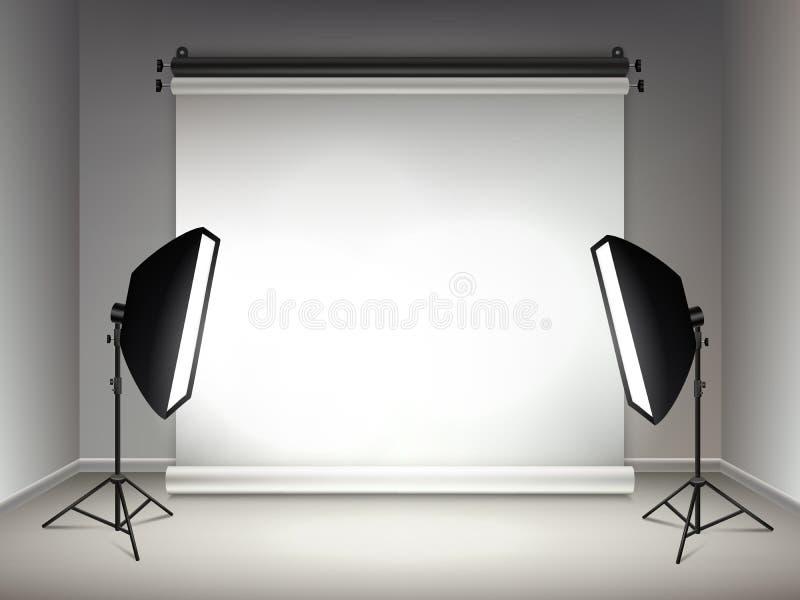 Glanzend stadium Verlichting en gloed lichteffecten van van projectoren softboxes lampen en schijnwerpers realistische vector royalty-vrije illustratie