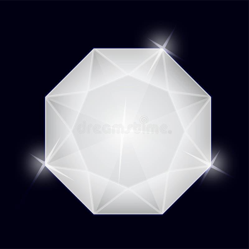 Glanzend Transparant Gem Stone Jewelry Octagon Diamond stock illustratie