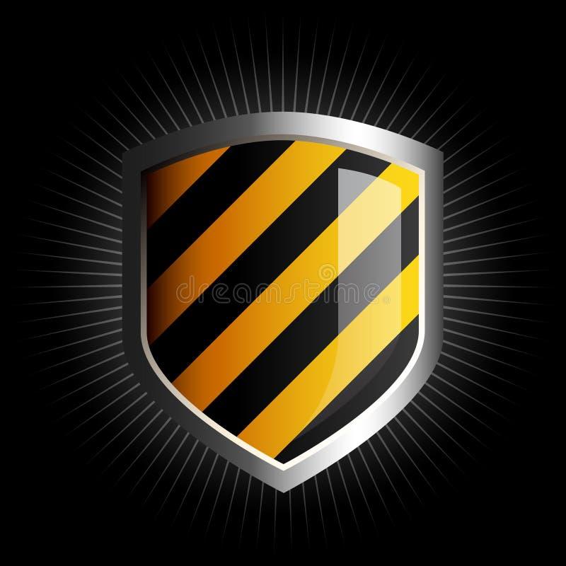 Glanzend zwart en geel schildembleem vector illustratie