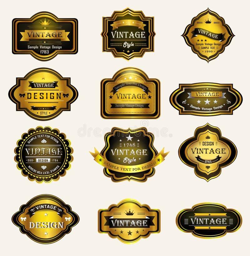 Glanzend zwart gouden uitstekend en retro kentekensontwerp royalty-vrije illustratie