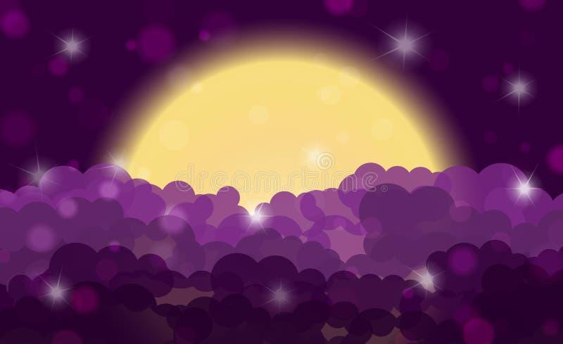 Glanzende bewolkte hemel van de beeldverhaal de purpere nacht met maan