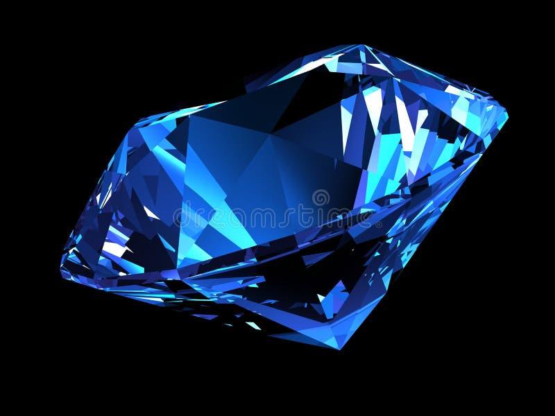 Glanzende blauwe diamant stock illustratie