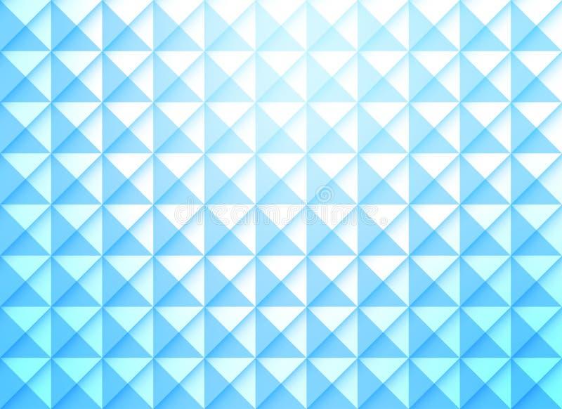 Glanzende Blauwe Gradiëntachtergrond met Naadloos Vierkanten en Driehoeken Geometrisch Patroon royalty-vrije illustratie