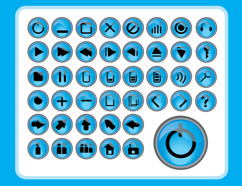 Glanzende blauwe pictogrammen stock illustratie