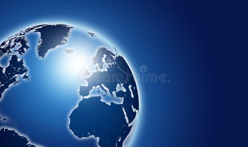Glanzende blauwe wereldkaart over dark royalty-vrije illustratie