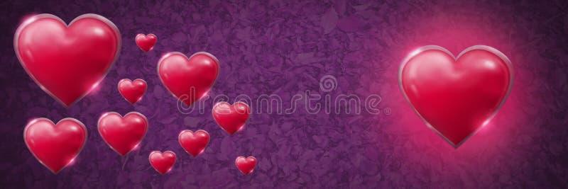 Glanzende bruisende Valentijnskaartenharten met bladeren purpere achtergrond stock illustratie